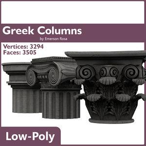 3d low-poly greek doric