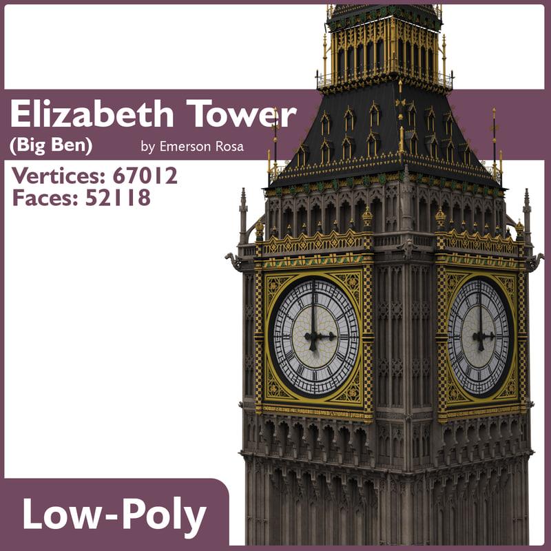 low-poly big ben 3d model
