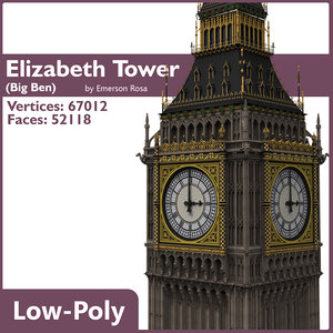 low-poly big ben 3d model