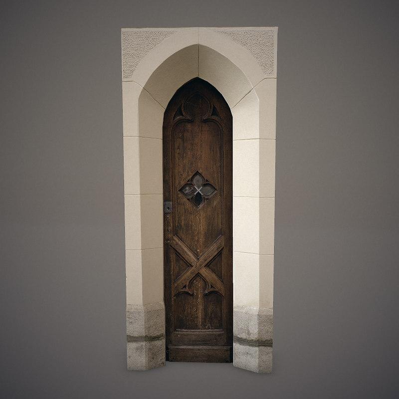 3d model of old wooden door