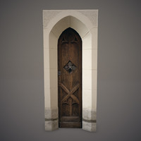3d model of old wooden door