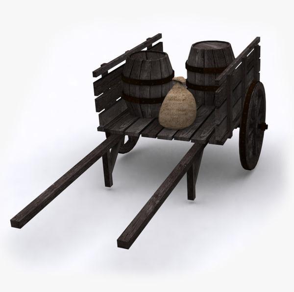 3d model old wooden t