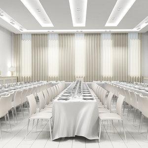 3d model classic banquette hall