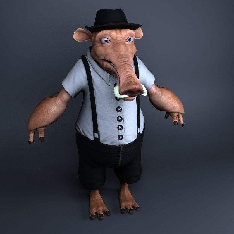 pig toon 3d max