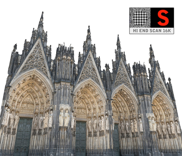 gothic architecture cathedral scanned 3d obj