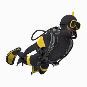 3d scuba diver dive model
