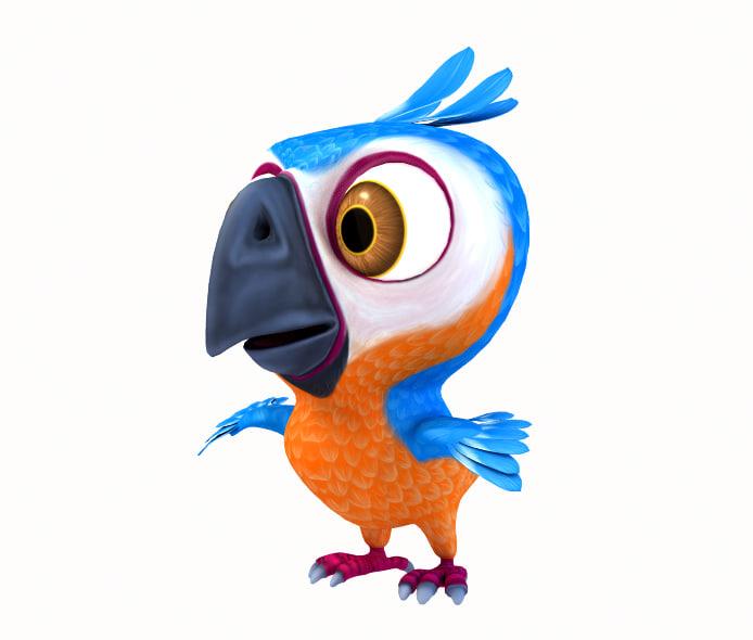 lwo cartoon parot bird