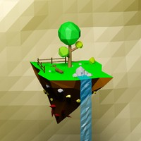 Cartoon low poly floating island
