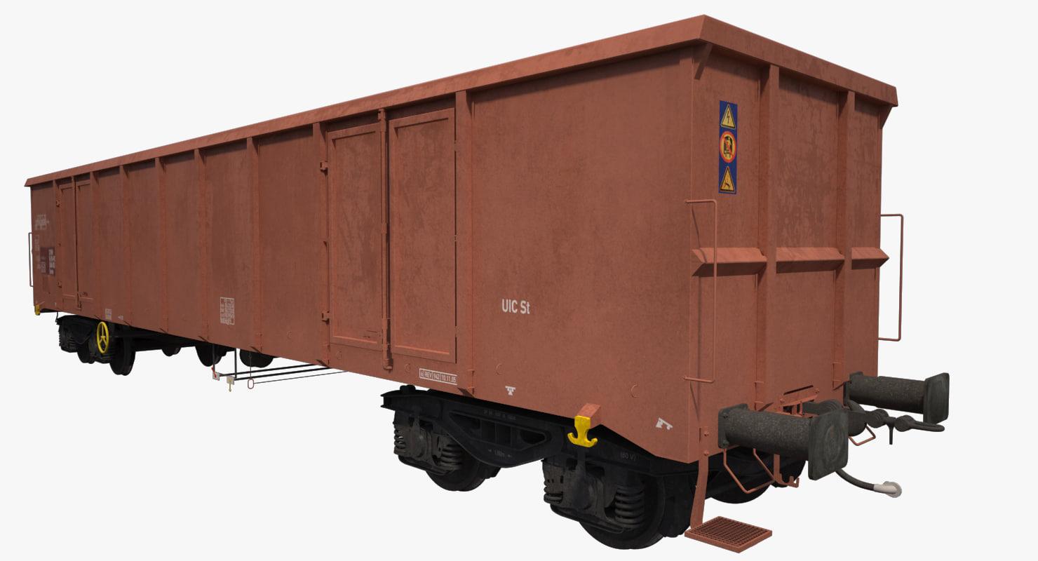 open-top box railcar eanos 3d model