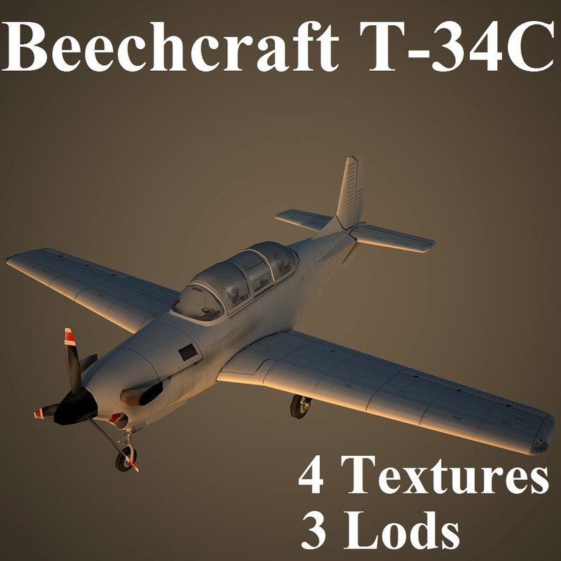 beechcraft low-poly trainer 3d max