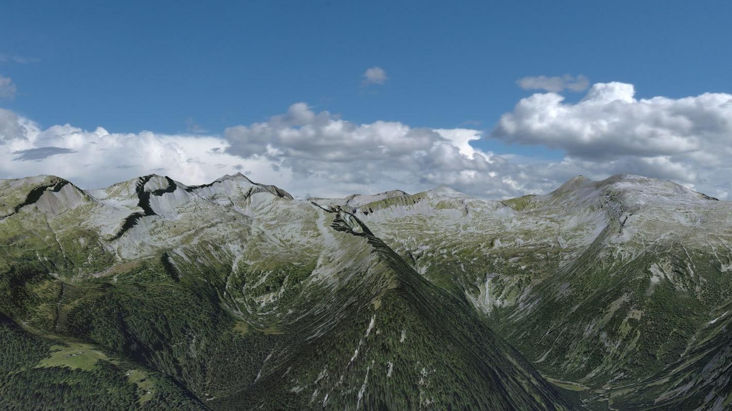 austrian mountain landscape austria 3d model