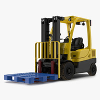 Forklift with Plastic Pallet 3D Model