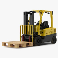 3d model forklift wooden pallet