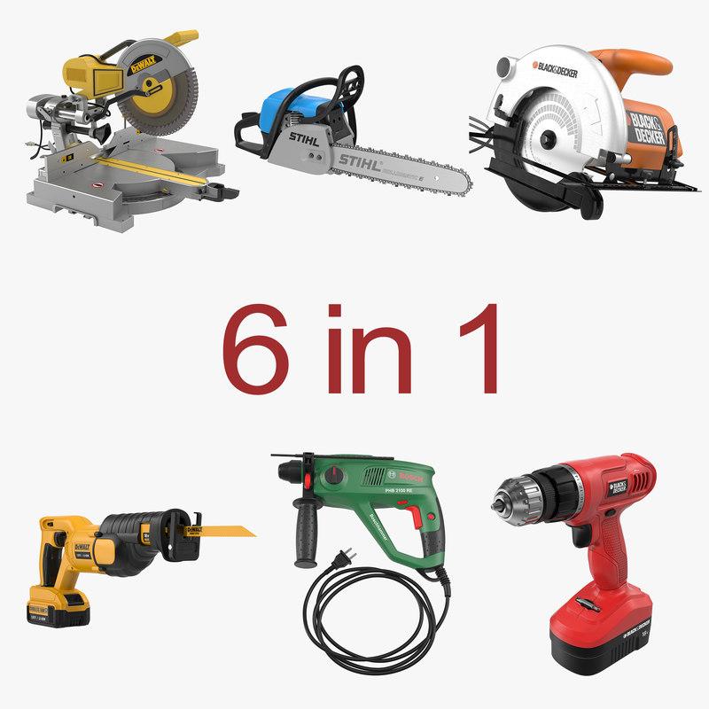 power tools 5 cordless drill 3d c4d