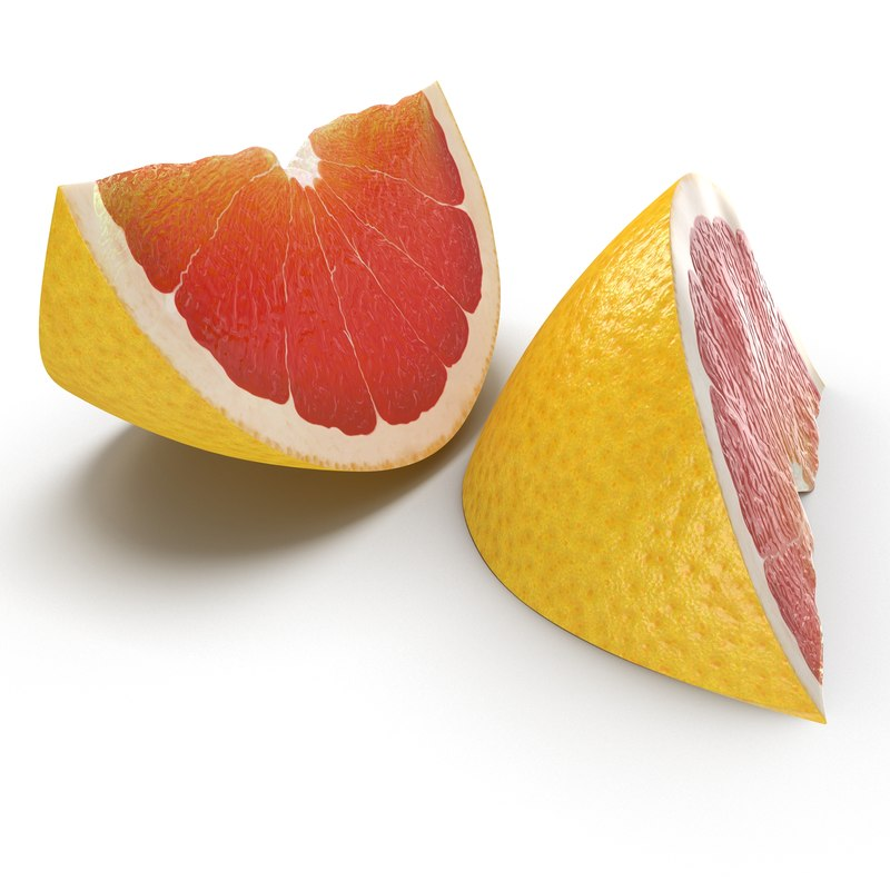 3d grapefruit slice 3 modeled