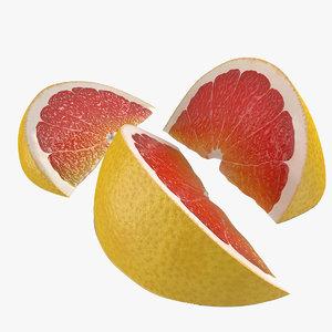 3d model of grapefruit slice set modeled