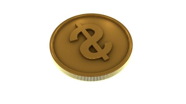 dollar coins 3d model
