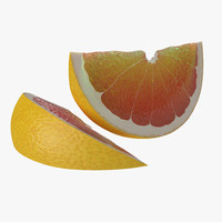 3d model grapefruit slice 2 modeled