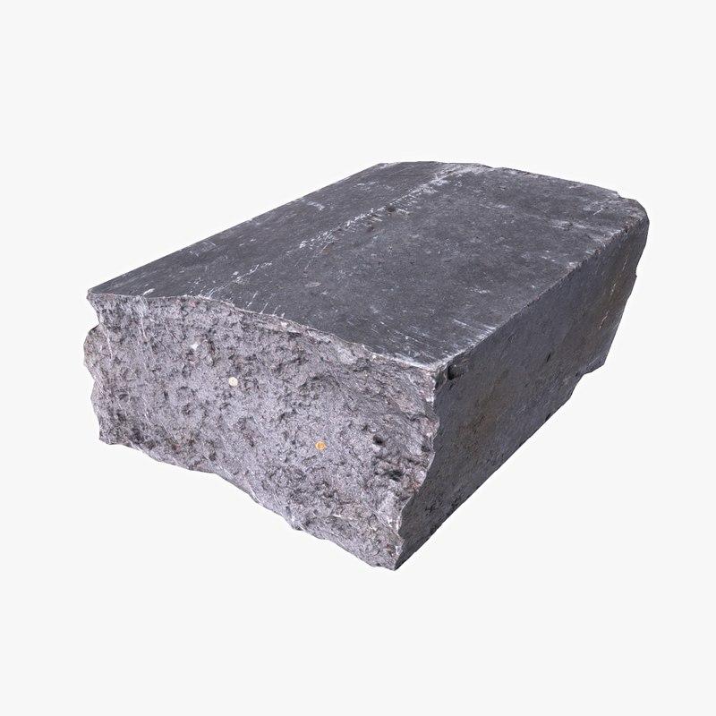 3d model concrete border debris