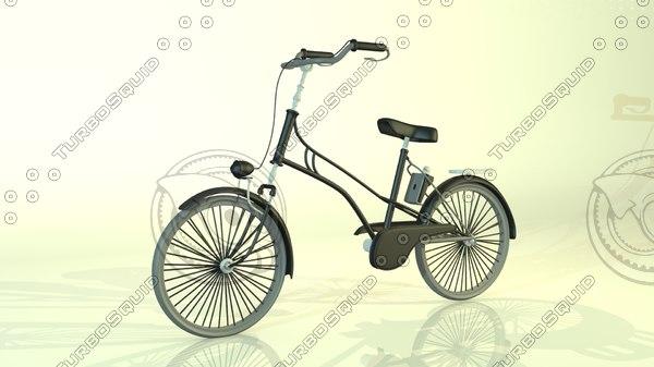 cartoon bike old school 3d model