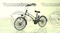 cartoon bike old school 3d model