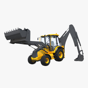 backhoe rigged 3d max