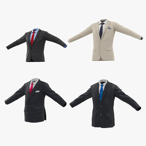 3d max mens suit jackets modeled