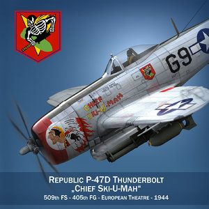 republic p-47 thunderbolt ski-u-mah 3d model