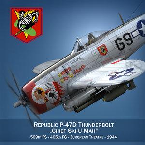 republic p-47 thunderbolt ski-u-mah 3d model