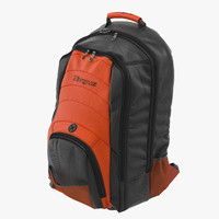 backpack black orange 3d model