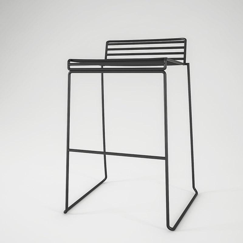 tall metal stool 3d model