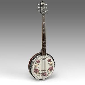 3d model guitar banjo