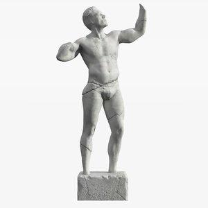 3d model of man broken statue