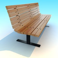 wood metal park Bench low poly vray