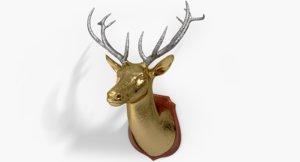 3d deer gold glitter design model