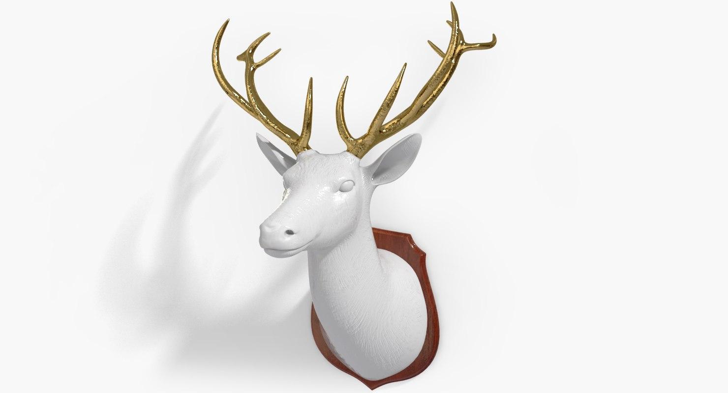 3d deer gold porcelain design