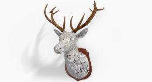 3d x deer wood design -