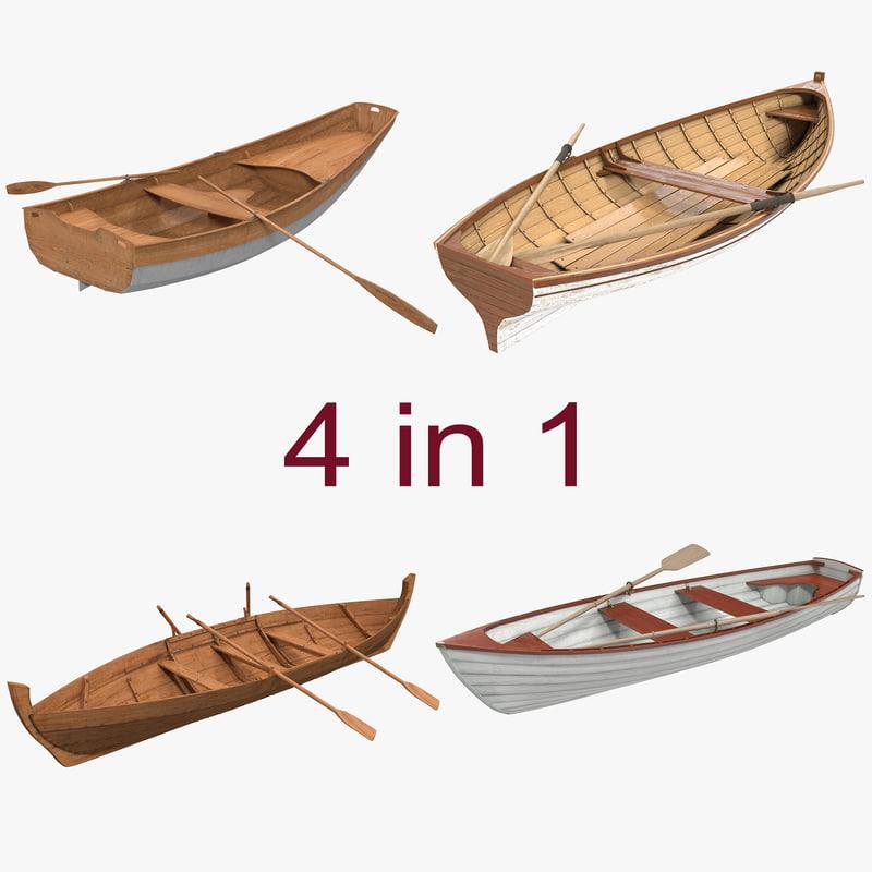 rowing boats 2 3d model