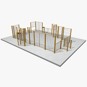3d model industrial protection fence kit