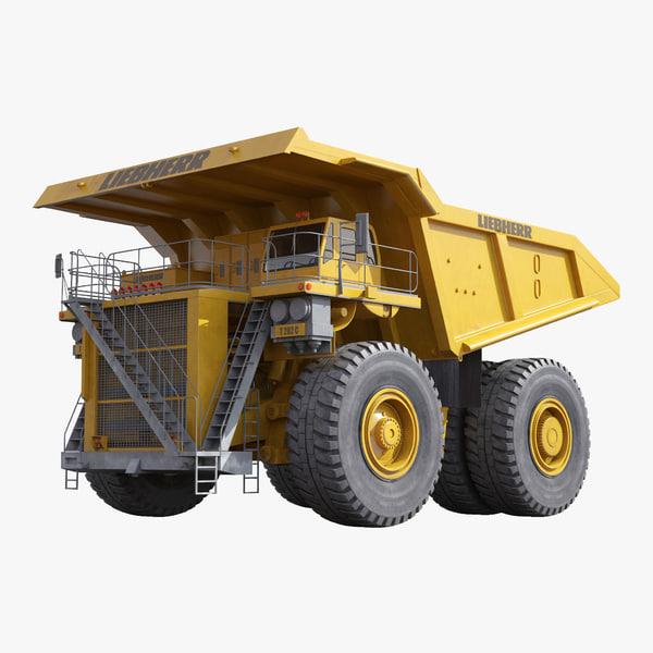 3d model haul truck liebherr yellow