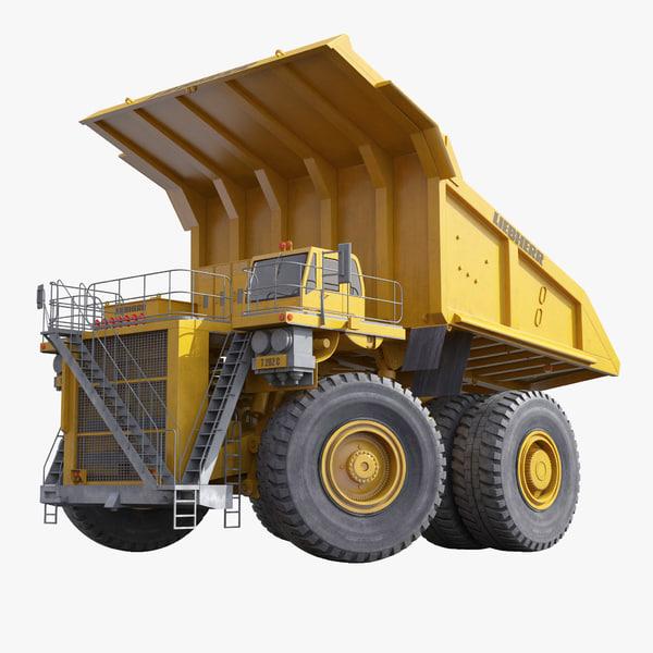 mining truck liebherr yellow 3d model