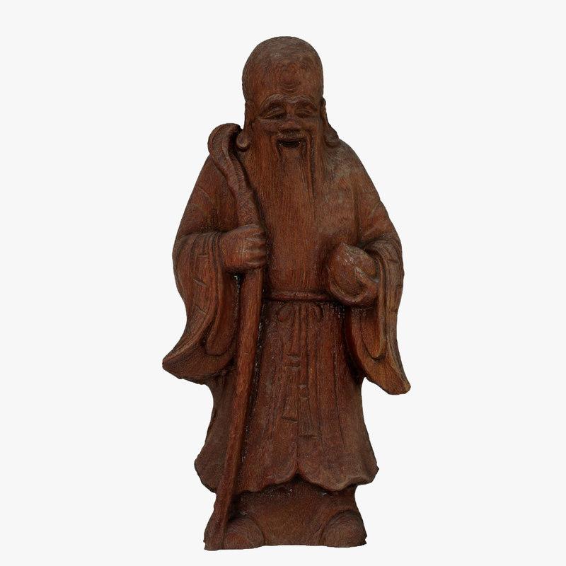 3d monk figurine scanned model