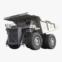 Heavy Duty Dump Truck Liebherr White 3D Model