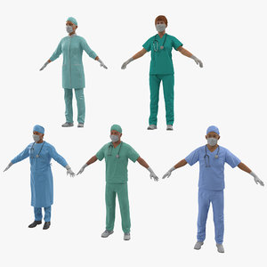 3d model rigged doctors male surgeon