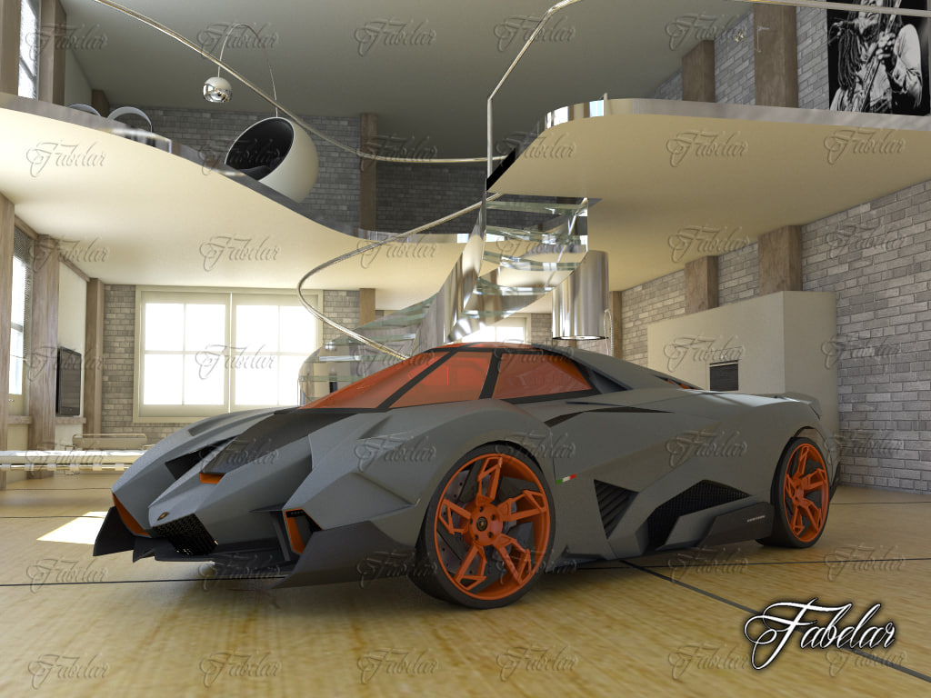 3d model lamborghini egoista environment