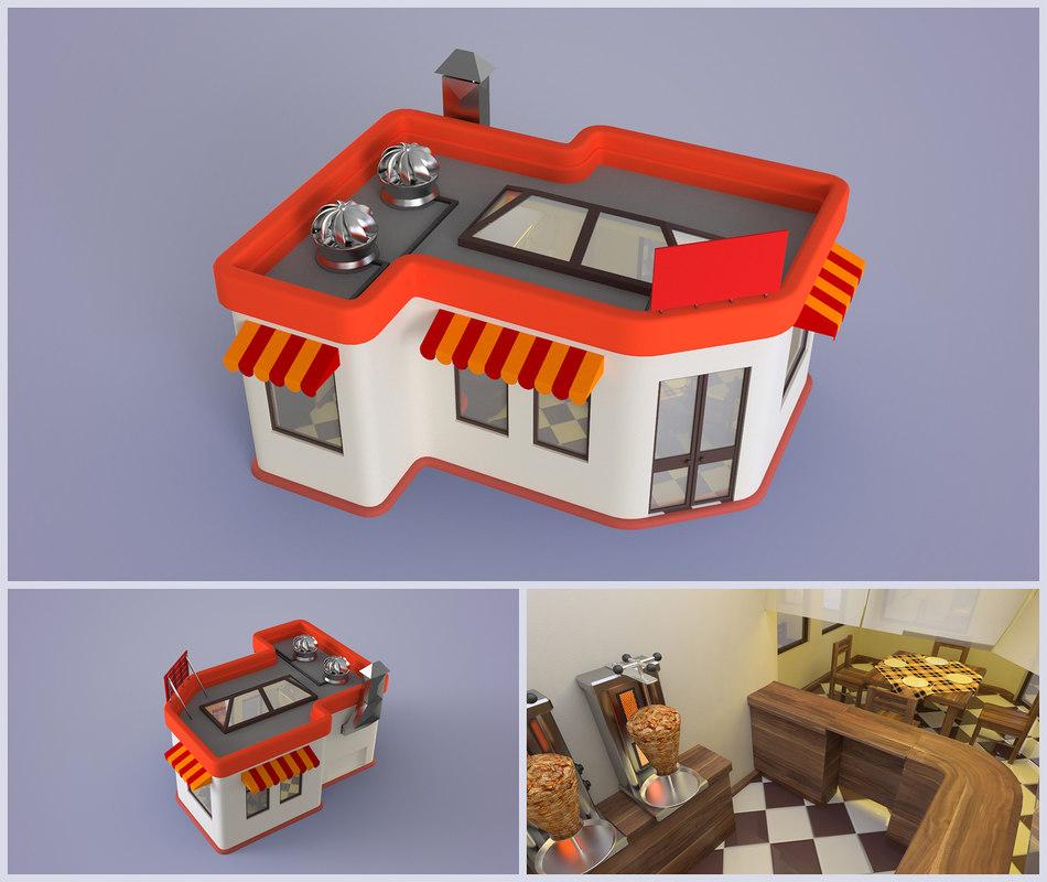 3d model cartoon shawarma restaurant