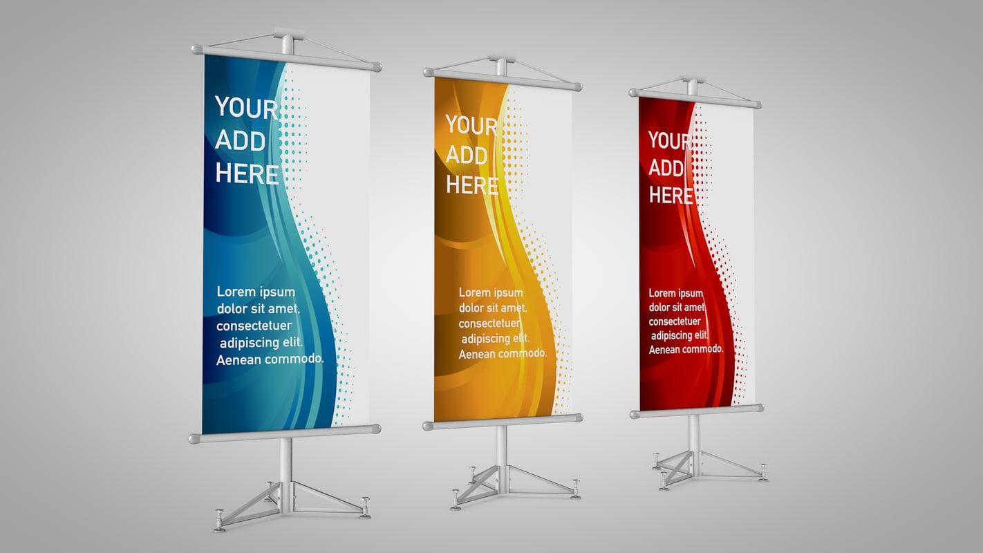 3d model banner stands