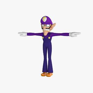 waluigi cartoon character 3d model