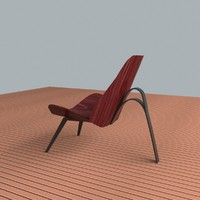 winged wood chair metal 3d max