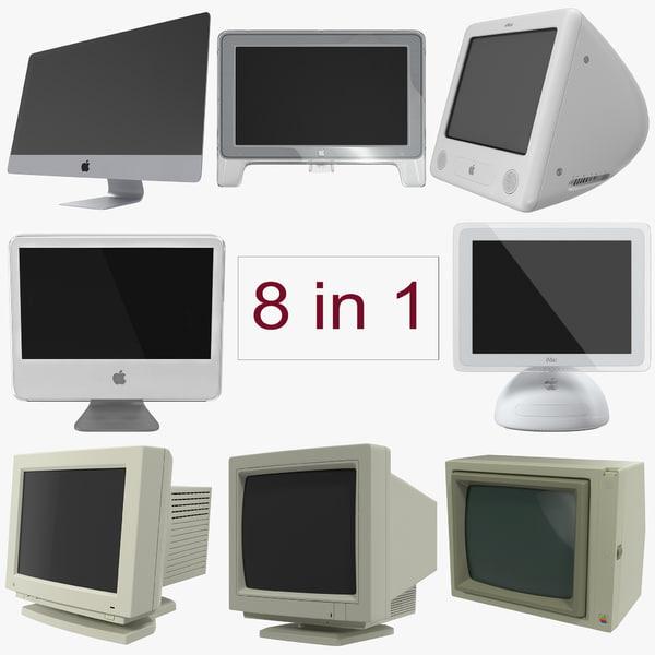 3d model apple monitors modeled imac